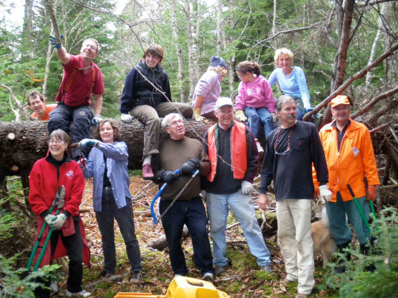 a group of TOC members clearing trail in 2008.