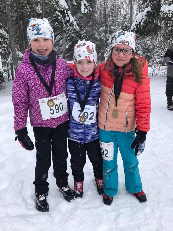 Three young skiers finished their loppet!